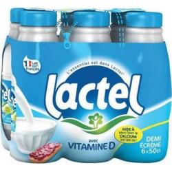 Lait Lactel Vitamine D demi-écrémé 50cl (pack de 6)