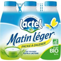 Lait Lactel Matin Léger Bio demi-écrémé 1L (pack de 6)